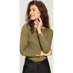 Bluzki damskie: Bluzka z dżetami - Zielony
