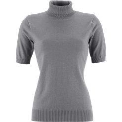 Sweter z golfem, krótki rękaw bonprix szary melanż. Szare golfy damskie bonprix, melanż, z krótkim rękawem. Za 49,99 zł.
