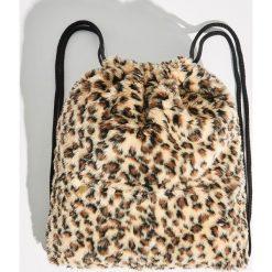 Plecak worek w panterkę - Brązowy. Brązowe plecaki damskie Sinsay, z motywem zwierzęcym. Za 49,99 zł.