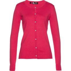 Kardigany damskie: Sweter rozpinany bonprix różowy hibiskus