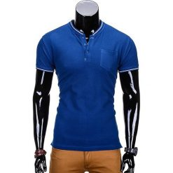 T-SHIRT MĘSKI BEZ NADRUKU S667 - NIEBIESKI. Niebieskie t-shirty męskie z nadrukiem Ombre Clothing, m, z bawełny, ze stójką. Za 35,00 zł.