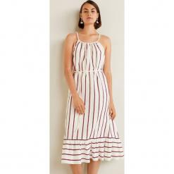 Mango - Sukienka Braid. Szare sukienki na komunię marki Mango, na co dzień, l, z tkaniny, casualowe, z dekoltem halter, na ramiączkach, midi, rozkloszowane. Za 199,90 zł.