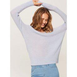 Sweter o drobnym splocie - Niebieski. Niebieskie swetry klasyczne damskie House, l, ze splotem. Za 49,99 zł.