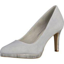 Buty ślubne damskie: Skórzane czółenka w kolorze jasnoszarym