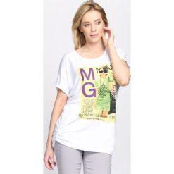 Bluzki asymetryczne: Biały T-shirt Solitary