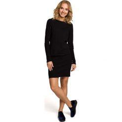 Czarna Dzianinowa Zbluzowana Sukienka z Długim Rękawem. Czarne sukienki dresowe marki Molly.pl, na co dzień, l, casualowe, z długim rękawem, dopasowane. Za 125,90 zł.