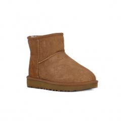 Śniegowce UGG  CLASSIC MINI II CHESTNUT. Szare buty zimowe damskie marki Ugg, z materiału, z okrągłym noskiem. Za 822,29 zł.