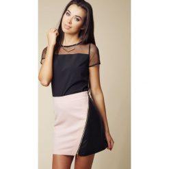 Spódnice wieczorowe: Mini Spódnica z Eko-skóry z Asymetrycznym Suwakiem – Różowy&czarny