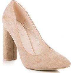 Buty ślubne damskie: ELEGANCKIE CZÓŁENKA NA SŁUPKU IDEAL SHOES odcienie brązu i beżu