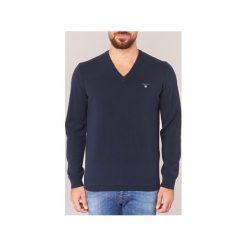 Swetry Gant  SUPER FINE LAMBSWOOL V-NECK. Niebieskie swetry klasyczne męskie GANT, l. Za 549,00 zł.