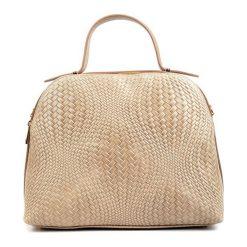 Torebki klasyczne damskie: Skórzana torebka w kolorze ciemnobeżowym – (S)34 x (W)27 x (G)16 cm
