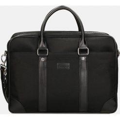 Czarna torba męska. Czarne torby na laptopa Kazar, w paski, z tkaniny, zdobione. Za 549,00 zł.