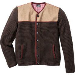 Swetry klasyczne męskie: Sweter rozpinany w ludowym stylu Regular Fit bonprix brązowy melanż