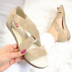 Sandały damskie: Sandały damskie skórzane espadryle beżowe Big Star AA276001