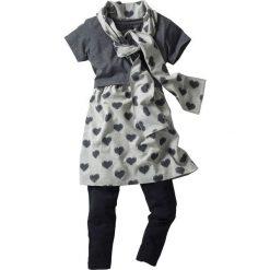 Sukienki dziewczęce: Sukienka, legginsy + szal (3 części) bonprix jasnoszary melanż - antracytowy melanż