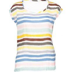 Koszulka w kolorze kremowym ze wzorem. Białe bluzki damskie marki Taifun, w paski, z okrągłym kołnierzem, z krótkim rękawem. W wyprzedaży za 65,95 zł.