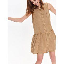 SUKIENKA DAMSKA Z FALBANĄ U DOŁU. Szare sukienki hiszpanki Top Secret, na jesień, z krótkim rękawem, mini. Za 49,99 zł.