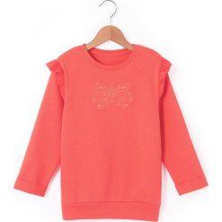 Bluza z wyszyciem i falbankami, 3-12 lat. Czerwone bluzy dziewczęce rozpinane La Redoute Collections, z bawełny, z długim rękawem, długie. Za 52,46 zł.