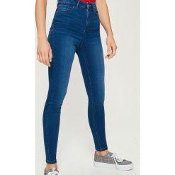 Jeansy skinny high waist - Granatowy. Niebieskie spodnie z wysokim stanem marki Sinsay, z jeansu. W wyprzedaży za 59,99 zł.