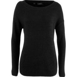 Sweter z dekoltem w łódkę bonprix czarny. Czarne swetry klasyczne damskie bonprix, z dekoltem w łódkę. Za 54,99 zł.
