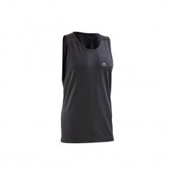 Koszulka do biegania bez rękawów RUN DRY męska. Czarne koszulki do biegania męskie marki KALENJI, m, z elastanu, z krótkim rękawem. Za 14,99 zł.