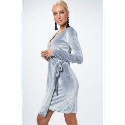 Sukienki: Sukienka zakładana srebrna 1467