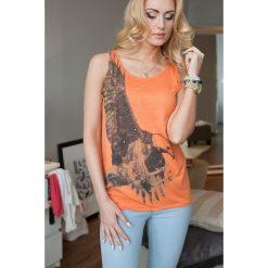 Bluzki damskie: Bluzka na szerokich ramiączkach pomarańczowa 1097