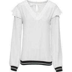 Bluzka z kontrastowymi paskami bonprix biel wełny. Białe bluzki z odkrytymi ramionami marki bonprix, w paski, z wełny, z kontrastowym kołnierzykiem. Za 59,99 zł.