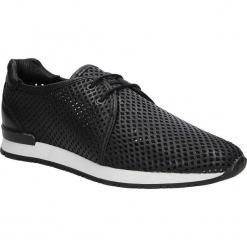 Czarne buty sportowe skórzane sznurowane Creator 9811A. Czarne buty sportowe damskie marki Casu. Za 289,99 zł.