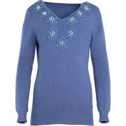 Niebieski Sweter Just Wait. Niebieskie swetry klasyczne damskie marki Born2be, l, z dekoltem w serek. Za 64,99 zł.