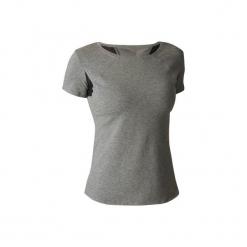Koszulka krótki rękaw Gym & Pilates Free Move 520 damska. Niebieskie bluzki sportowe damskie marki DOMYOS, l, z bawełny, z krótkim rękawem. W wyprzedaży za 34,99 zł.