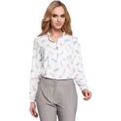 Wzorzysta Ecru Bluzka Koszulowa ze Stójką Model 1. Szare bluzki koszulowe Molly.pl, l, biznesowe, z długim rękawem. Za 109,90 zł.