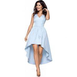 Sukienki balowe: Niebieska Wieczorowa Sukienka z Wydłużonym Tyłem