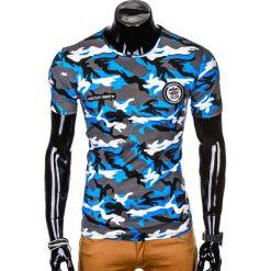 T-SHIRT MĘSKI Z NADRUKIEM S1010 - NIEBIESKI/MORO. Szare t-shirty męskie z nadrukiem marki Lacoste, z gumy, na sznurówki, thinsulate. Za 35,00 zł.