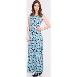 Sukienki: Granatowa sukienka maxi w kwiaty QUIOSQUE