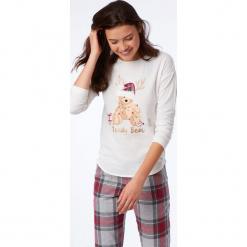 Etam - Bluzka piżamowa Odele. Szare koszule nocne i halki Etam, z nadrukiem, z bawełny. Za 99,90 zł.