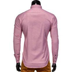 KOSZULA MĘSKA ELEGANCKA Z DŁUGIM RĘKAWEM K358 - CZERWONA. Brązowe koszule męskie na spinki marki Ombre Clothing, m, z aplikacjami, z kontrastowym kołnierzykiem, z długim rękawem. Za 49,00 zł.