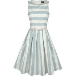 Dolly and Dotty Pale Blue Stripe Dress Sukienka miętowy/biały. Czerwone sukienki na komunię marki bonprix, na lato, w grochy, z dzianiny, z podwójnym kołnierzykiem, moda ciążowa, dopasowane. Za 144,90 zł.