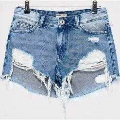 Szorty damskie: Jeansowe szorty z efektem destroy – Niebieski