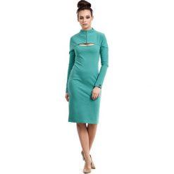 Sukienki: Zielona Sukienka Ołówkowa do Kolan z Suwakiem