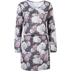 Sukienki hiszpanki: Sukienka shirtowa bonprix szary w kwiaty