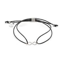 Bransoletki damskie: Bransoletka w kolorze czarnym ze srebrną zawieszką