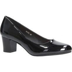 Czarne czółenka lakierowane na słupku Sergio Leone 16520. Czarne buty ślubne damskie marki Sergio Leone. Za 69,99 zł.