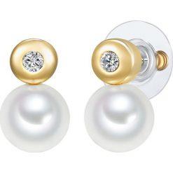 Kolczyki damskie: Pozłacane kolczyki-wkrętki z perłami i kryształkami