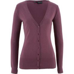 Swetry rozpinane damskie: Sweter rozpinany bonprix matowy jeżynowy