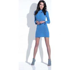 Sukienki: Niebieska Sukienka Wełniana Dopasowana Mini