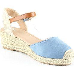 Sandały damskie: Sandały na koturnie w kolorze niebieskim