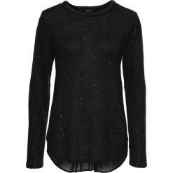 Swetry klasyczne damskie: Sweter z cekinami i bluzkową wstawką bonprix czarny