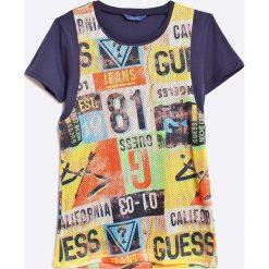 Guess Jeans - T-shirt dziecięcy. Szare t-shirty chłopięce marki Guess Jeans, l, z aplikacjami, z bawełny, z okrągłym kołnierzem. W wyprzedaży za 79,90 zł.
