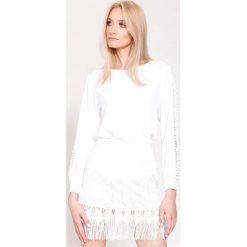 Biała Bluzka Lace Lines. Białe bluzki asymetryczne other, uniwersalny, z długim rękawem. Za 59,99 zł.
